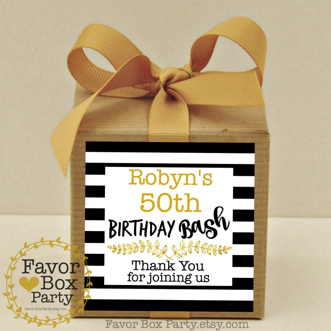 Personalized Party Favor Boxes Birthday : Birthday party bash favor boxes personalized labels