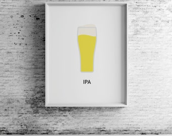 Beer IPA, digital print, beer art, beer print, beer wall art, beer prints, beer poster,  beer decor, beer design, compassionprints