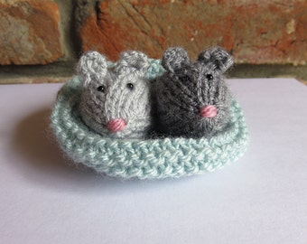 Soft Grey Hand Knitted Mice and Blue Basket