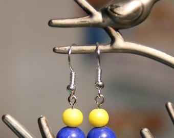 Blue and Yellow Dangle Earrings