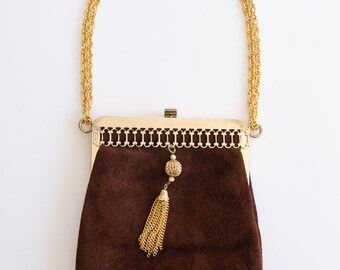 Brown suede & gold purse 1971