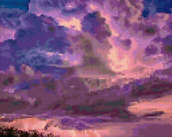 Dramatic Lightning Storm Sunset landscape Cross Stitch pattern PDF - Instant Download!