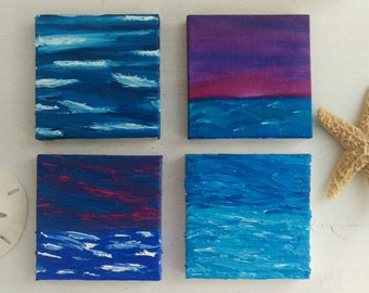 Set of four 3x3 beach oil paintings