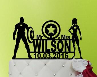 Wedding Cake Topper - Captain America cake topper - Captain America Wedding cake topper - Wedding Cake Topper superhero - Topper M1-01-030