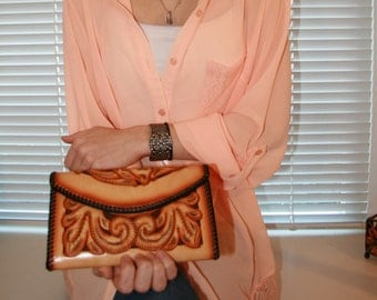 Handmade Leather Billfold Clutch Purse