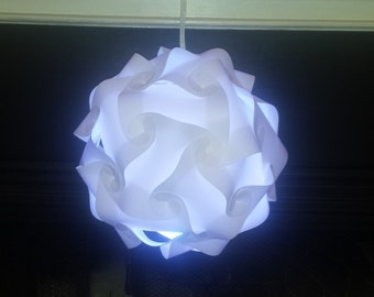 White Puzzle light assembled size Small 10 inch dia.