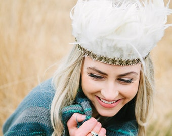 Curious Fair Feather & Antique Gold Headdress