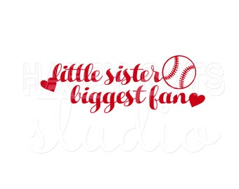 Little Sister Biggest Fan Personalized Your Team's Colors Baseball Little League Sibling Family Support Iron On Vinyl Decal for T Shirt 303