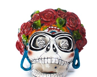 Frida Kahlo Hand Painted Ceramic Calavera Colorful Decorative Home Statue Figurine - Dia de los muertos - Skull - Day of the dead
