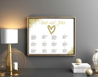 Gold glitter rush order seating chart Gold confetti seating chart Wedding table chart Wedding seating chart Your Seat Personalized