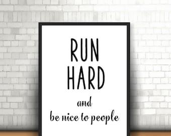 Gift for runner Runner poster Running inspiration Marathon running Running present Running art Marathon inspiration  printable poster