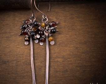 agate cluster earrings - rustic - tribal - raw copper - hand made - brown stones jewelry - oxidized - hand forged - long stick - aged