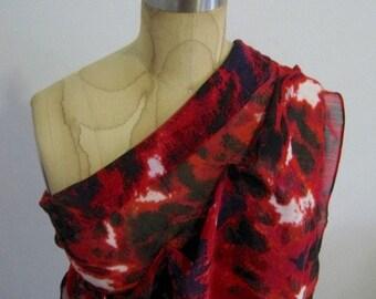 Diagonal blouse, One shoulder top, Diagonal top, Chiffon  blouse, Drape top, Red shades, Size small.
