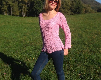 Hand-knitted 100% rosa linen summer sweater made in Switzerland