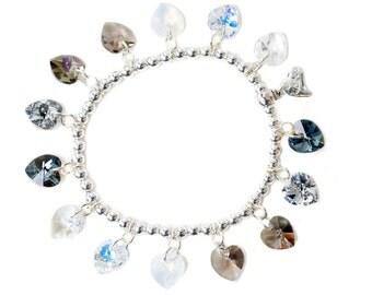Grey Candy Hearts Sterling Silver & SWAROVSKI crystal Charm Bracelet
