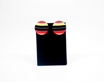 Red & Yellow Stud Earrings