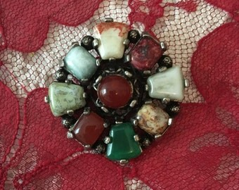 Vintage 1930's Sterling Silver With Stones Brooch