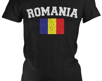 Distressed Romania Ladies Juniors T-Shirt, Romanian Pride, Bucharest, Ladies Juniors Romania Soccer Shirts AMD_ROM_02