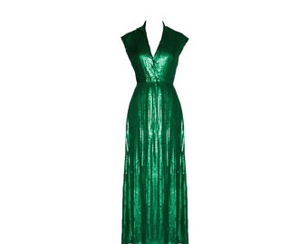 Vintage Halston Emerald Green Collared Sequin Evening Gown 1970s
