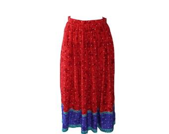 Vintage Oscar de La Renta Red Floral Motif Silk Skirt 1980s