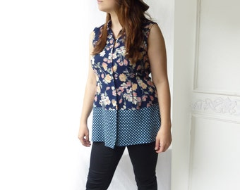 Upcycled Reworked blouse- sleeveless ooak top,  floral print top,  polka dot top- mixed print- size medium to large - eco friendly top