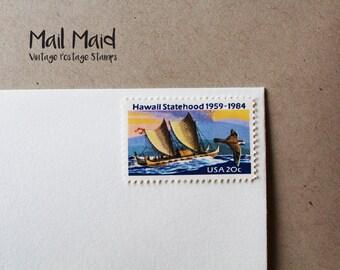 Vintage Hawaii Statehood Stamps (set of 10)