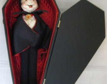 """Annalee 12"""" Dracula in Coffin with Red Satin Lining"""