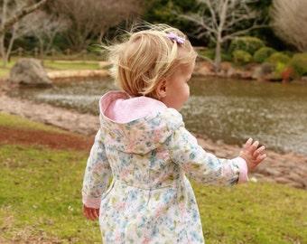 Reversible girls jacket - girls coat - toddler jacket - toddler coat - girls hoodie - dress coat - girls clothing -  SIZE T2