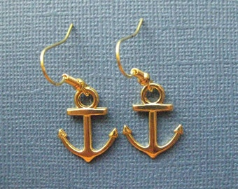 Anchor Earrings - Gold Anchor Earrings - Dangle Earrings - Nautical Earrings - Nautical Jewelry -- E108