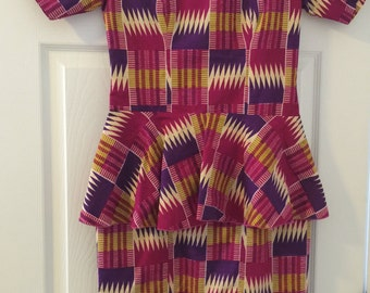 Handmade Ghanian Fabric Peplum Dress