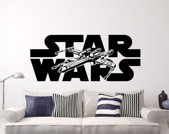 Star Wars Wall Decals Xwing Vinyl Sticker Decal Logo X-Wing Fighter Wall Decal Children Kids Nursery Bedroom Office Decor Window Dorm x209