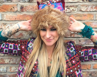 Faux Fur-Trimmed Embroidered Festival Hat/Cossack Hat/Funny Face/Colourful Headdress - Made from Recycled Hmong Hill Tribe Vintage Fabric