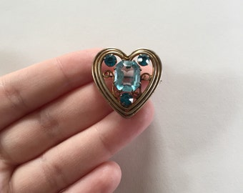 Lovely Vintage Heart Shaped Blue Rhinestone and Gold-Tone Oxidized Sterling Silver Brooch