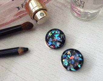 Plastic clip earrings, vintage glitter earrings, blue round earrings