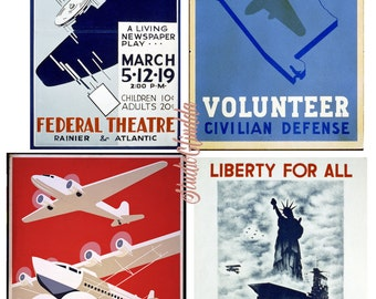 WPA Posters, Aviation Themes Vintage, 4 Prints, Air Planes, Civil Defense, New York, Theater, Collage, Scrapbook, Cards..