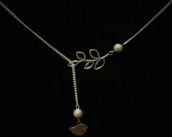 Free as a Bird and Branch Lariat Necklace with Silver/Gray Glass Pearls
