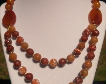 Double strand dragon veins agate necklace