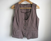 Brown striped women vest Formal brown stripes waistcoat L size Us-12 Eu-42 Aus-16 size Large sleeveless jacket