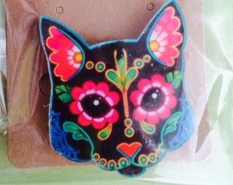 Acrylic Day Of The Dead Cat Brooch/Badge