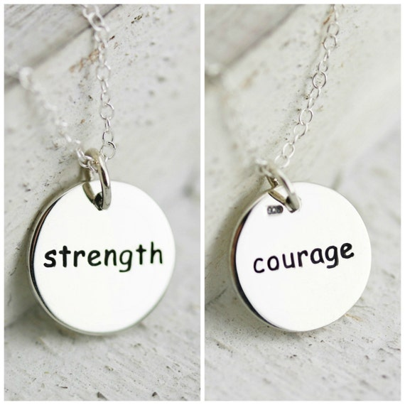 strength necklace courage necklace sterling silver round