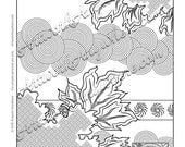 "Japanese Blossoms ""Flaming Leaf Layers with Circles"" Adult coloring page printable download from Artwork Anywhere ~hand drawn detail design~"
