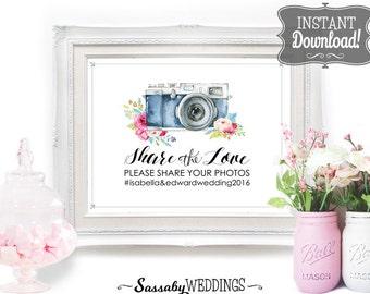 Share the Love Wedding Social Media Poster - INSTANT DOWNLOAD - Editable Printable Wedding Camera Photo Instagram Social Share Sign