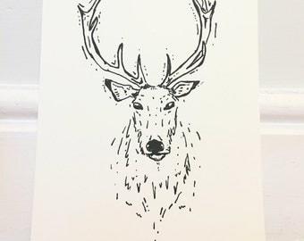 Stag A4 Wall Print Hand Drawn Original