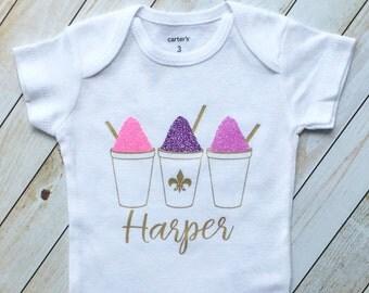Sparkling Sno-ball trio, New Orleans, baby girl clothes, NOLA, snowball shirt