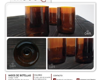 Recycled bottles of beer glasses