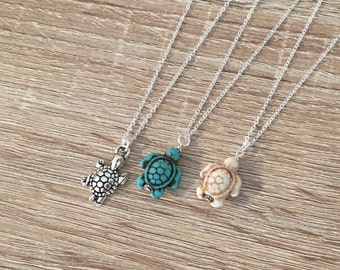 Antique Silver / Turquoise / Ivory Howlite Turtle Necklace, Little Turtle Pendant, Ocean Charm Pendant, Sea Turtle Jewelry, Beach, Animal