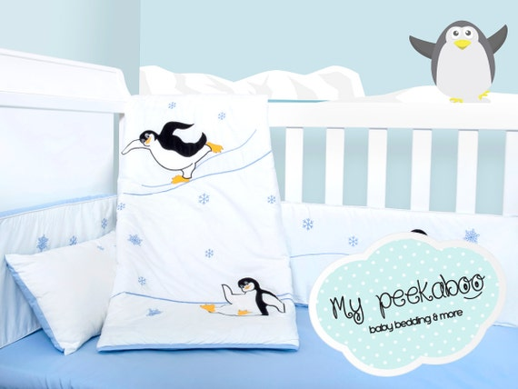 Items similar to Penguin Baby Bedding Set on Etsy