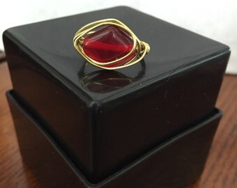 FREE SHIPPING! Red/Gold Ring Wire Wrapped - Size 8