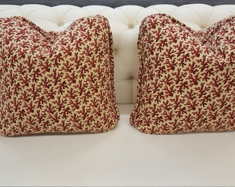 Brunschwig And Fils Hunting Toile In Tobacco And Cream Pillow