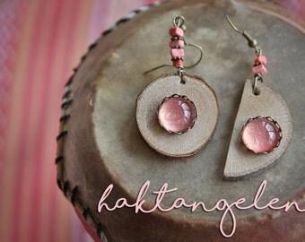 Sun and moon dangle earrings ~ Wooden earrings ~ Peachy earrings ~ READY TO SHIP ~